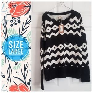 NWT BASS knit printed b&w sweater - large